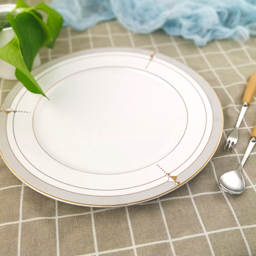 Kitchen white color caremic dinner plate with gold design