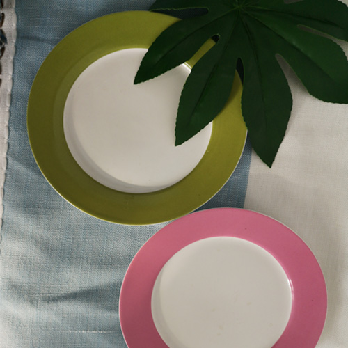 Solid color printed round shape fine China plate