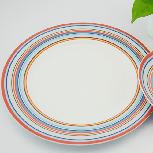 rainbow colorful hand painted  ceramic dinner plate