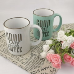 Customized color glazed coffee mug with text design