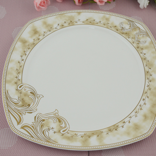 Kitchen white color caremic square dinner plate with gold rim design