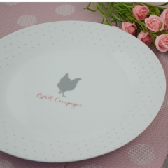 Customized printing ceramic dinner plate for hotel ,home