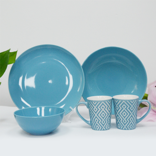 Custom-made light blue glazed ceramic tableware without pattern