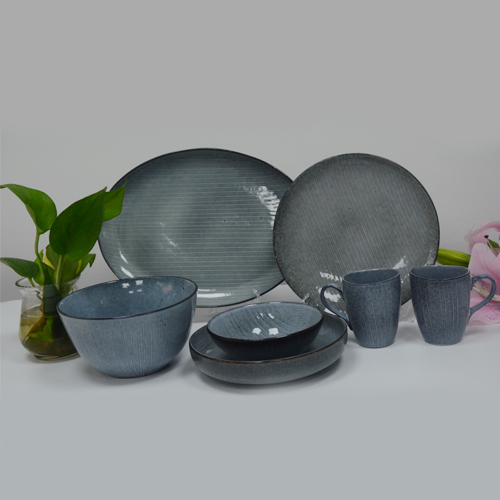Fashion irregular shape blue glazed unpatterned ceramic tableware