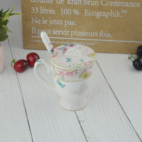 330ml printing tea cup with cover and spoon