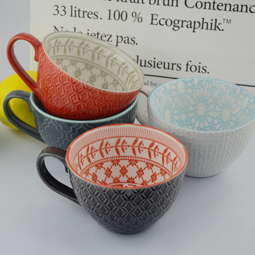 hot sell 420ml polychrome glazed embossed ceramic mug
