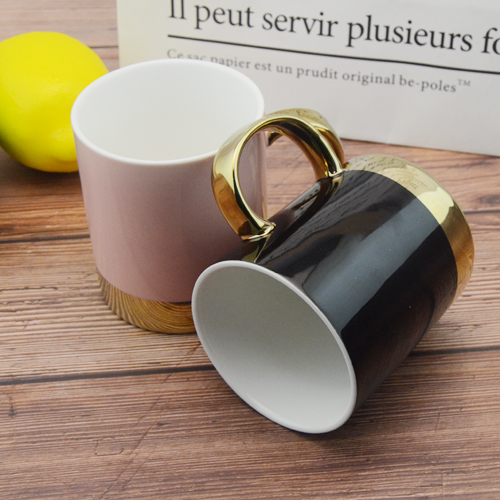 380ml gold handle with golden ring base mug