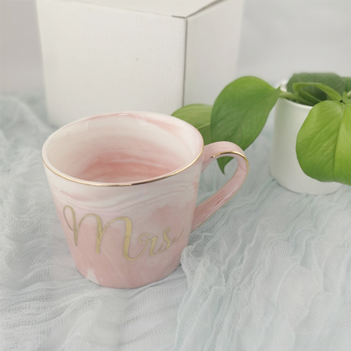 Custom-made 360ml marble Europe gilt Porcelain cup