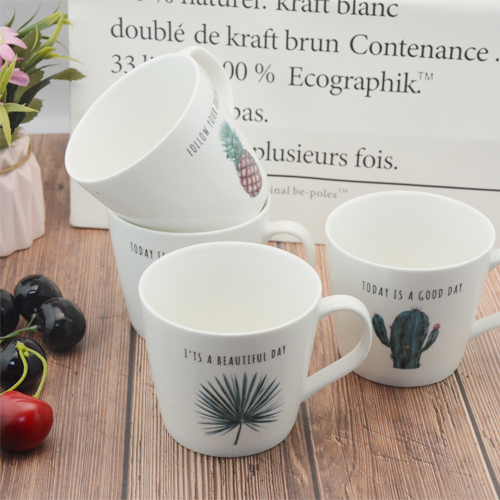 Custom 400ml cactus and pineapple printed new bone China mug
