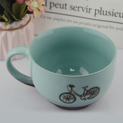 700ml embossed printed ceramic mug with bicycle pattern