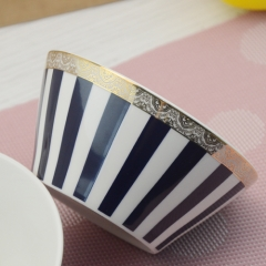 Custom made 4.5 inch sapphire ceramic bowl with gold rim