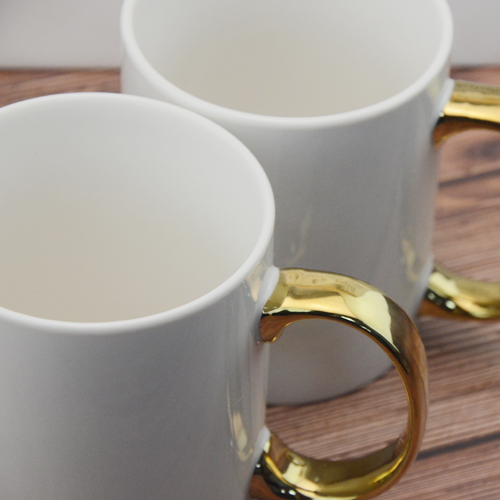 400ml ceramic coffee mug with golden ring handle