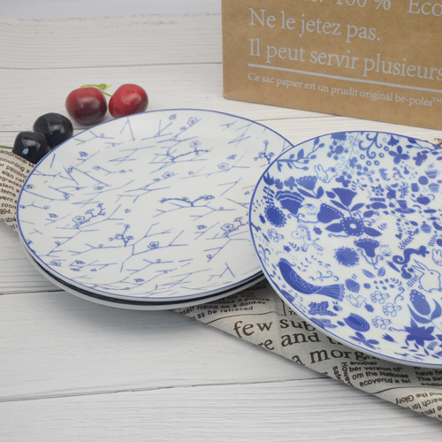 Modern design of 8-inch blue all-round printed western plate