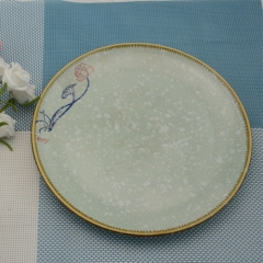 Japanese style 7-inch hand-painted porcelain plate with yellow edge