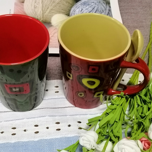 wholesale customized hand-painting ceramic coffee mugs with spoon