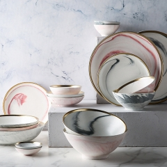 Marble Customized Ceramic Porcelain Dinner Set Dinnerware Set