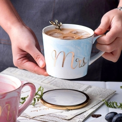 European style Mr and Mrs gilded letters marble wedding anniversary ceramic coffee mug