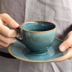 Wholesale Classic  design color print design coffee cup ceramic cup and saucer set