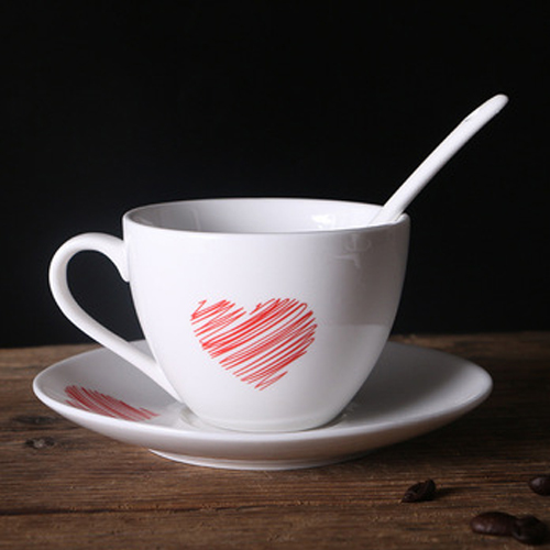 European style white ceramic coffee cup and saucer with logo