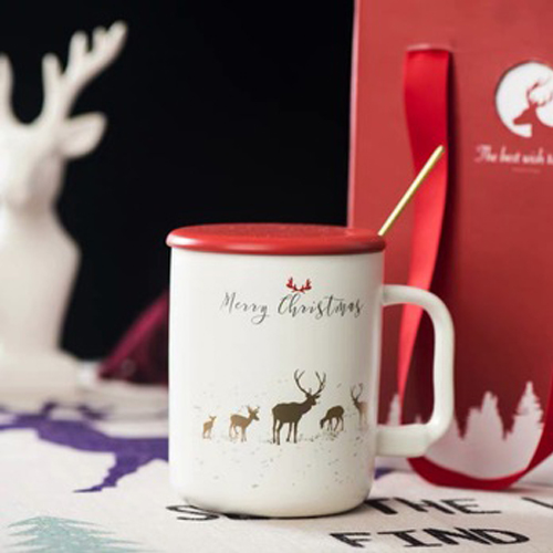 Christmas and Christmas festival deerhorn girl simple with cover spoons mug ceramic water cup