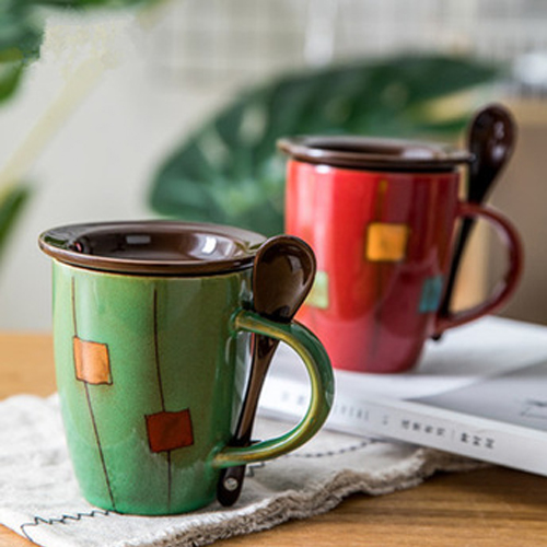 Wholesale manufacturer printed milk ceramic coffee mug with spoon in handle
