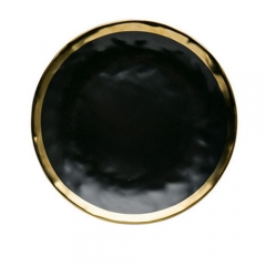 European style black painted gold ceramic plate western plate fruit salad plate