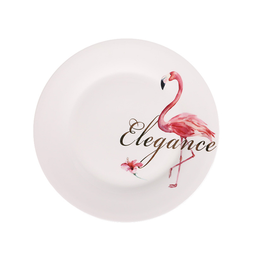 Hot  selling flamingo design printing porcelain dinner plate
