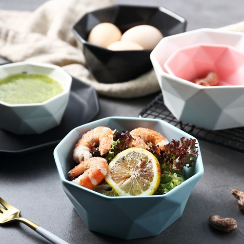Nordic wind rice soup bowl pure color home matte ceramic simple personality