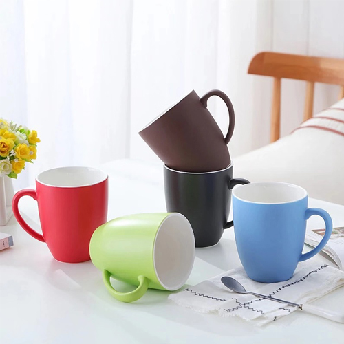 Ceramic matte mug large capacity frosted fashion color coffee mug milk simple mocha couple water mug